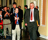 United States Representative F. James Sensenbrenner, Jr. (Republican of Wisconsin), who serves as one of the U.S. House Managers in the Impeachment trial of U.S. President Bill Clinton, is followed by reporters as he walks past the U.S. Senate Chamber in the U.S. Capitol in Washington, D.C. on January 14, 1999 following his presentation..Credit: Ron Sachs / CNP