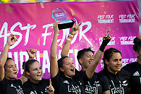 The Black Ferns celebrate winning the Fast Four final on day two of the 2019 HSBC World Sevens Series Hamilton at FMG Stadium in Hamilton, New Zealand on Sunday, 27 January 2019. Photo: Dave Lintott / lintottphoto.co.nz