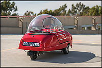 BNPS.co.uk (01202 558833)<br /> Pic: RobinAdams/RMSothebys/BNPS<br /> <br /> A bizarre bubble car that is strikingly similar to the famous flying car from The Jetsons cartoon has emerged for sale for &pound;80,000. <br /> <br /> The wacky Peel Trident micro-car was built in 1965, two years after the first series of Hanna-Barbera's animated sitcom was aired.<br /> <br /> Although the dinky Trident doesn't take flight its most identifiable feature is a glass bubble shell, much like George Jetson's 'aerocar'. <br /> <br /> Just 45 of the three-wheeled single seater motor were made by an Isle of Man company, making them a collector's item today.