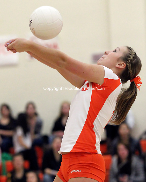 Terryville, CT-14 November 2011-111411CM07-  Terryville's Anna Dupaul bumps the ball back to East Hampton during the quarterfinals of the Class S Tournament Monday night in Terryville.  The Kangaroos lost, 3-1.  Christopher Massa Republican-American