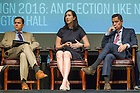 June 3, 2016; Campaign 2016: An Election Like No Other, with moderator, Christina Wolbrecht, Director, Rooney Center for the Study of American Democracy and panelists, David Campbell, Packey J. Dee Professor of American Democracy and Chair of the Political Science Department; Luis Fraga, Co-Director of the Institute for Latino Studies, Arthur Foundation Endowed Professor of Transformative Latino Leadership, Joseph and Elizabeth Robbie Professor of Political Science; Katie Beirne Fallon '98, President, OakTree Strategies and former Director of Legislative Affairs for President Obama; The Honorable Matt Schlapp '90, Chairman of the American Conservative Union and Former White House Political Director for President George W. Bush.   (Photo by Barbara Johnston/University of Notre Dame)