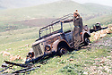 Iraq 1963 .A convoy of Iraqi army destroyed by peshmergas.Irak 1963.Convoi de l'armee irakienne tombe  dans une embuscade des peshmergas