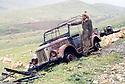 Iraq 1963 .A convoy of Iraqi army destroyed by peshmergas.Irak 1963.Convoi de l'armee irakienne tombe  dans une embuscade des peshmergas