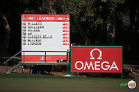 Scoreboard on the 14th  during the Final Round of the 2016 Omega Dubai Desert Classic, played on the Emirates Golf Club, Dubai, United Arab Emirates.  07/02/2016. Picture: Golffile | David Lloyd<br /> <br /> All photos usage must carry mandatory copyright credit (&copy; Golffile | David Lloyd)