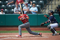 Lehigh Valley IronPigs shortstop Taylor Featherston (6) at bat in front of catcher Guillermo Quiroz during a game against the Columbus Clippers on May 12, 2016 at Huntington Park in Columbus, Ohio.  Lehigh Valley defeated Columbus 2-1.  (Mike Janes/Four Seam Images)