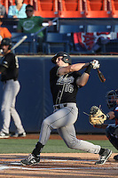 Brian Mundell (16) of the Cal Poly Mustangs bats during a game against the Cal State Fullerton Titans at Goodwin Field on April 2, 2015 in Fullerton, California. Cal Poly defeated Cal State Fullerton, 5-0. (Larry Goren/Four Seam Images)