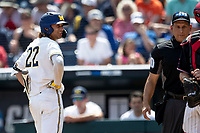 Michigan Wolverines outfielder Jordan Brewer (22) during Game 1 of the NCAA College World Series against the Texas Tech Red Raiders on June 15, 2019 at TD Ameritrade Park in Omaha, Nebraska. Michigan defeated Texas Tech 5-3. (Andrew Woolley/Four Seam Images)