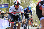 Fernando Gaviria (COL) UAE Team Emirates and Luke Rowe (WAL) Team Sky on the the first ascent of the Kemmelberg during the 2019 Gent-Wevelgem in Flanders Fields running 252km from Deinze to Wevelgem, Belgium. 31st March 2019.<br /> Picture: Eoin Clarke | Cyclefile<br /> <br /> All photos usage must carry mandatory copyright credit (© Cyclefile | Eoin Clarke)