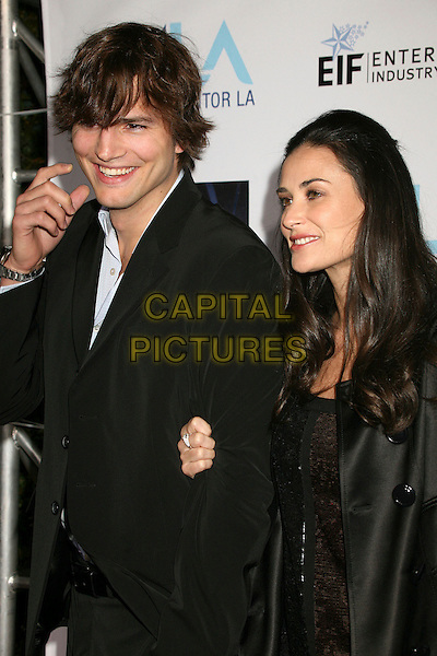 ASHTON KUTCHER & DEMI MOORE.Mentor LA's Promise Gala Honoring Tom Cruise at 20th Century Fox Studios, Century City, California, USA..March 22nd, 2007.half length black jacket married husband wife .CAP/ADM/BP.©Byron Purvis/AdMedia/Capital Pictures