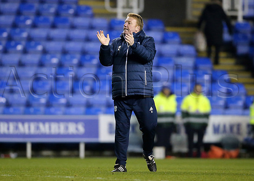 11th December 2017, Madejski Stadium, Reading, England; EFL Championship football, Reading versus Cardiff City; Cardiff City's First Team Coach Ronnie Jepson celebrates with fans at full time