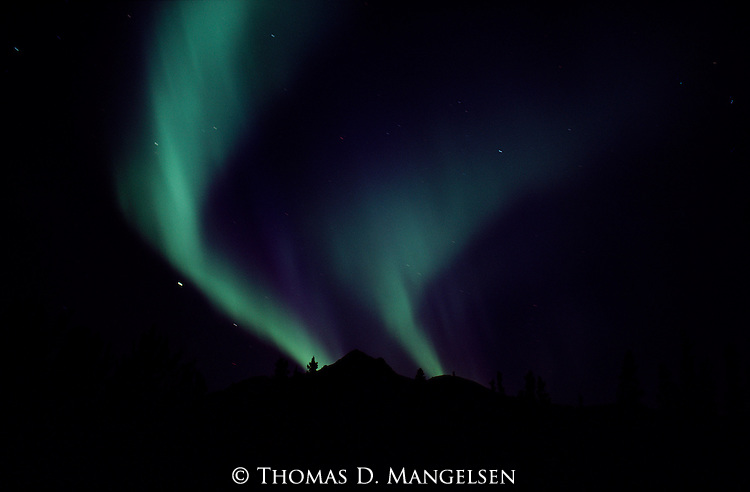 Aurora Borealis shines above silhouetted mountain peaks in Denali National Park, Alaska.