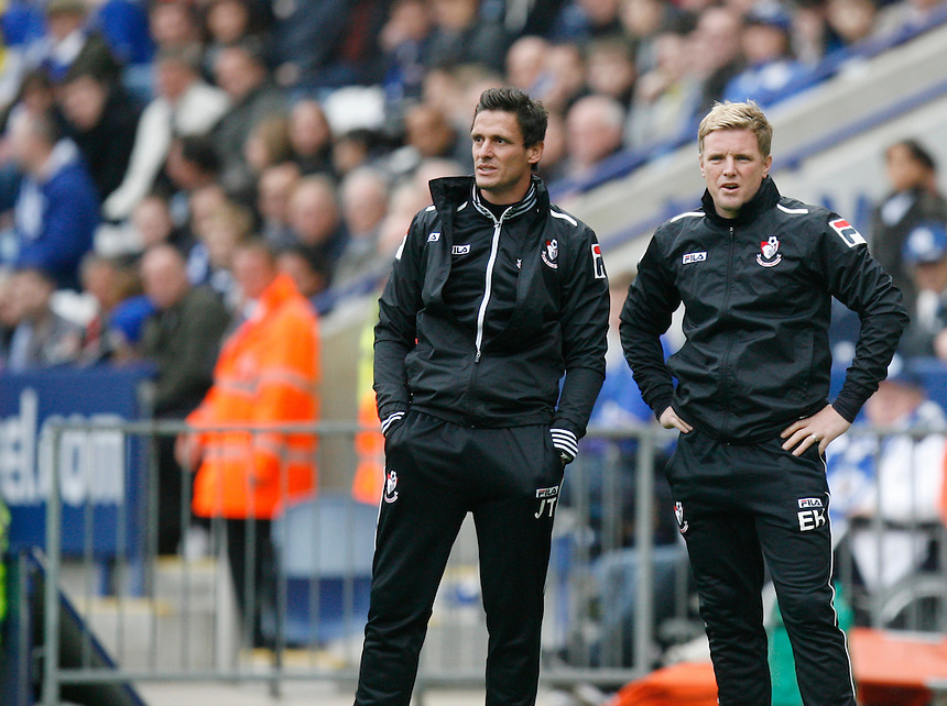 Bournemouth's Manager Eddie Howe  (R)<br /> <br /> Photo by Jack Phillips/CameraSport<br /> <br /> Football - The Football League Sky Bet Championship - Leicester City v Bournemouth - Saturday 26th October 2013 - King Power Stadium - Leicester<br /> <br /> &copy; CameraSport - 43 Linden Ave. Countesthorpe. Leicester. England. LE8 5PG - Tel: +44 (0) 116 277 4147 - admin@camerasport.com - www.camerasport.com
