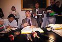 The lawyer Giuliano Spazzali comments, during a press conference in his office, the motivations of the sentence of his client Sergio Cusani, Milan, June 2, 1994. &copy; Carlo Cerchioli<br /> <br /> L'avvocato Giuliano Spazzali commenta, durante una conferenza stampa nel suo studio, le motivazioni della sentenza di condanna del suo assistito Sergio Cusani, Milano 2 giugno 1994.