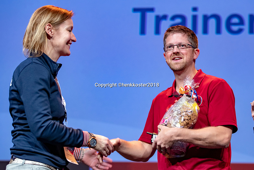 Nieuwegein,  Netherlands, 9 November 2018, Coaches congress KNLTB, Marjolein Notten and Stefan Underwood<br /> Photo: Tennisimages.com/Henk Koster