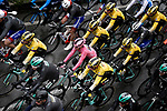 The peloton with race leader Maglia Rosa Primoz Roglic and Team Jumbo-Visma during a very wet Stage 5 of the 2019 Giro d'Italia, running 140km from Frascati to Terracina, Italy. 15th May 2019<br /> Picture: Fabio Ferrari/LaPresse | Cyclefile<br /> <br /> All photos usage must carry mandatory copyright credit (© Cyclefile | Fabio Ferrari/LaPresse)