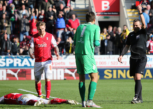 02.04.2016. New York Stadium, Rotherham England.  Sky Bet Championship Rotherham versus Leeds United. Leeds Marco Silvestri brings down Rotherhams Lee Frecklington in the box the ref awards Rotherham a penalty and Marco Silvestri is shown red