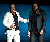 LAS VEGAS, NV - APRIL 24: Will Arnett and Jason Momoa onstage during the Warner Bros. Pictures presentation at CinemaCon 2018 at The Colosseum at Caesars Palace on April 24, 2018 in Las Vegas, Nevada. (Photo by Frank Micelotta/PictureGroup)