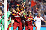 09 August 2014: Salt Lake's Chris Schuler (left) celebrates his second goal with Nat Borchers (above) and Joao Plata (ECU) (right). Real Salt Lake hosted DC United at Rio Tinto Stadium in Sandy, Utah in a 2014 Major League Soccer regular season game.