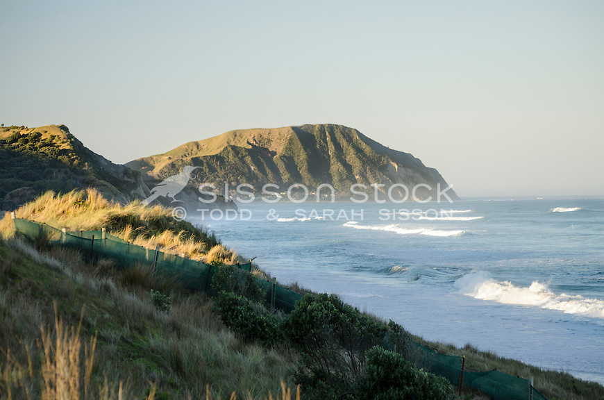 Evening surf - Makorori beach, near Gisborne.  North Island New Zealand.