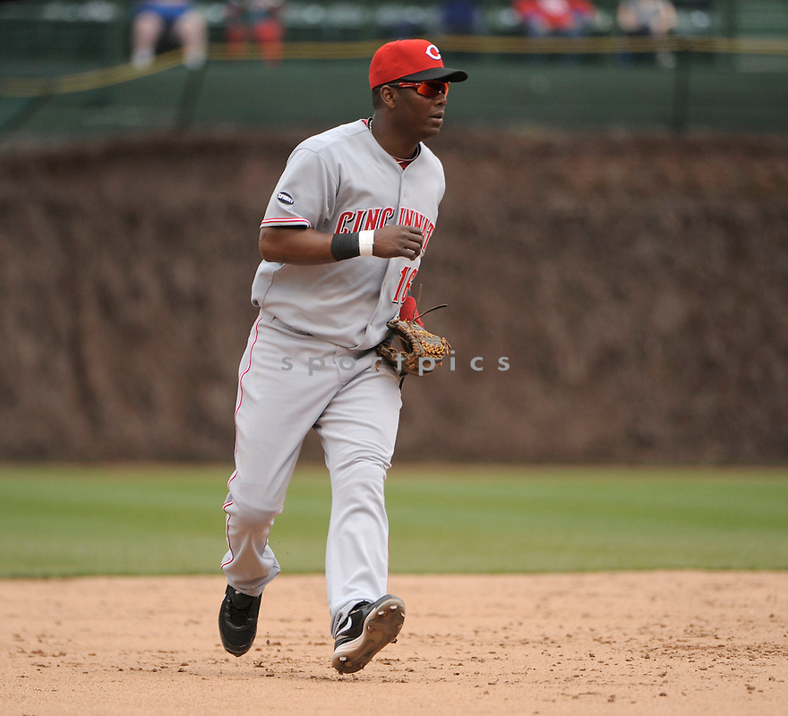 EDGAR RENTERIA, of the Cincinnati Reds,  in action during the Reds game against the Chicago Cubs, on May 6, 2011 at Wrigley Field in Chicago, IL.  The Reds beat the Cubs 5-4.