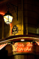 Bar du Marché sign, Rue de Seine, Left Bank, typical Paris, France