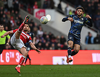 Bristol City's Bailey Wright (left) crosses the ball despite the attentions of Leeds United's Tyler Roberts (right) <br /> <br /> Photographer David Horton/CameraSport<br /> <br /> The EFL Sky Bet Championship - Bristol City v Leeds United - Saturday 9th March 2019 - Ashton Gate Stadium - Bristol<br /> <br /> World Copyright © 2019 CameraSport. All rights reserved. 43 Linden Ave. Countesthorpe. Leicester. England. LE8 5PG - Tel: +44 (0) 116 277 4147 - admin@camerasport.com - www.camerasport.com