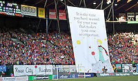 Portland, Oregon - Sunday September 11, 2016: Thorns supporters tifo during a regular season National Women's Soccer League (NWSL) match at Providence Park.