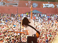 Satomi Matsuzaki of DeerHoof performs performs infront of a sellout crowd at Pool Parties, McCarren Park Brooklyn,