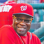 28 May 2016: Washington Nationals Manager Dusty Baker sits in the dugout prior to a game against the St. Louis Cardinals at Nationals Park in Washington, DC. The Cardinals defeated the Nationals 9-4 to take a 2-games to 1 lead in their 4-game series. Mandatory Credit: Ed Wolfstein Photo *** RAW (ARW) Image File Available ***
