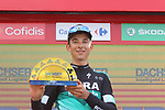 Davide Formolo (ITA) Bora-Hansgrohe collects the team prize at the end of Stage 19 of the La Vuelta 2018, running 154.4km from Lleida to Andorra, Naturlandia, Andorra. 14th September 2018.                   <br /> Picture: Colin Flockton | Cyclefile<br /> <br /> <br /> All photos usage must carry mandatory copyright credit (© Cyclefile | Colin Flockton)