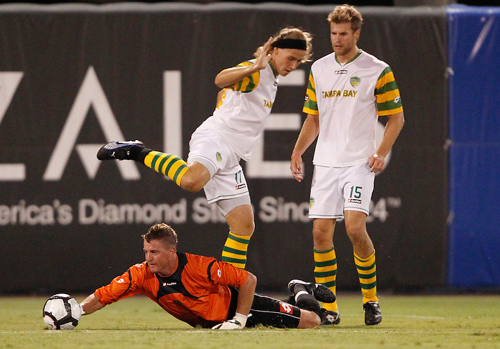 May 27, 2010; TAMPA, FLORIDA: FC Tampa Bay Rowdies Goalkeeper Daryl Sattler #1 during a 3-1 victory over the Minnesota Stars at Steinbrenner Field in Tampa, Florida. Photo by Matt May/FC Tampa Bay Rowdies