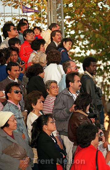 People watch the Pope drive by at the Pope's visit.<br />