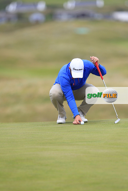 Gary Collins (Rosslare) on the 1st green during Matchplay Round 4 of the South of Ireland Amateur Open Championship at LaHinch Golf Club on Saturday 25th July 2015.<br /> Picture:  Golffile | TJ Caffrey
