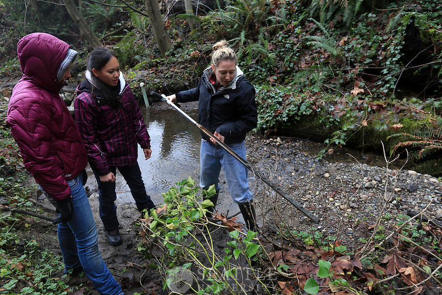 02022013- Environmental Science professor Lyn Gualtievis's field methods class in the woods on Mercer Island.
