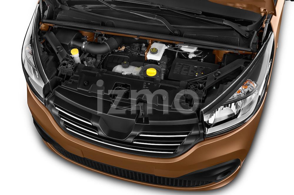 Car stock 2015 Renault Trafic Luxe 5 Door Van engine high angle detail view