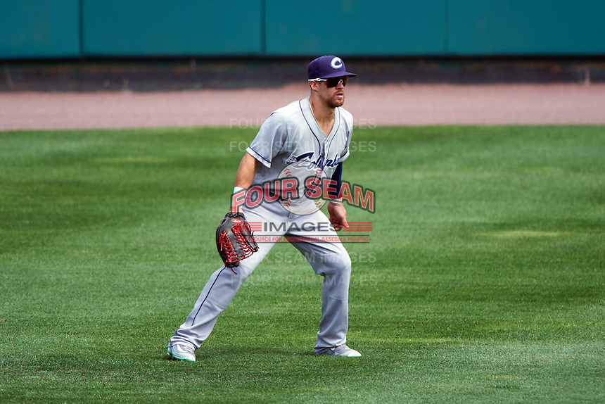 Columbus Clippers center fielder Collin Cowgill (7) during a game against the Rochester Red Wings on June 16, 2016 at Frontier Field in Rochester, New York.  Rochester defeated Columbus 6-2.  (Mike Janes/Four Seam Images)