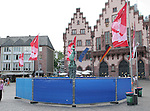 30 June 2006: The statue and fountain in the town square are protectected by fencing in Frankfurt, site of several games during the FIFA 2006 World Cup, in anticipation of postgame revelry following Germany's Quarterfinal game against Argentina, to be played in Berlin.