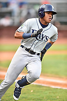 Princeton Rays left fielder Pedro Diaz (30) runs to first base during game two of the Appalachian League Championship Series against the Elizabethton Twins at Joe O'Brien Field on September 5, 2018 in Elizabethton, Tennessee. The Twins defeated the Rays 2-1 to win the Appalachian League Championship. (Tony Farlow/Four Seam Images)