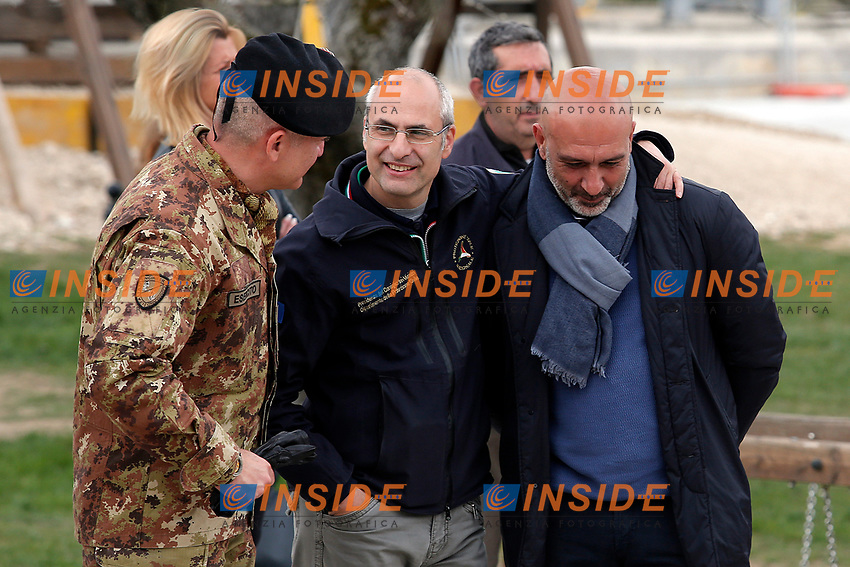 Fabrizio Curcio, capo della Protezione civile con il Sindaco di Amatrice Sergio Pirozzi<br /> Amatrice 02/04/2017. Il Principe Carlo del Galles in visita nella zona terremotata di Amatrice<br /> Amatrice April 2nd 2017. Prince Charles of Wales visits Amatrice, hit by the earthquake of 24 August. <br /> Foto Samantha Zucchi Insidefoto