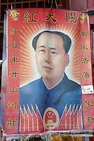Hanging depicting a young Chairman Mao Zedong or Mao Tse-tung, Chinatown, Vancouver, British Columbia, Canada