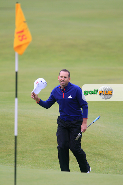 Sergio Garcia (ESP) on the 18th during the final round on Monday of the 144th Open Championship, St Andrews Old Course, St Andrews, Fife, Scotland. 20/07/2015.<br /> Picture: Golffile | Fran Caffrey<br /> <br /> <br /> All photo usage must carry mandatory copyright credit (&copy; Golffile | Fran Caffrey)