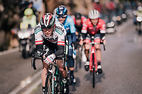 Austrian National Champion Gregor Mühlberger (AUT/Bora-Hansgrohe) at the front of the race<br /> <br /> Trofeo Lloseta - Andratx: 140km<br /> 27th Challenge Ciclista Mallorca 2018