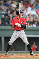 Shortstop Mitch Roman (10) of the Kannapolis Intimidators bats in a game against the Greenville Drive on Wednesday, July 12, 2017, at Fluor Field at the West End in Greenville, South Carolina. Greenville won, 12-2. (Tom Priddy/Four Seam Images)