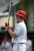 Frankie Schwindel #5 of the St. John's Red Storm during the Big East-Big Ten Challenge vs. the Minnesota Golden Gophers at Jack Russell Memorial Stadium in Clearwater, Florida;  February 18, 2011.  St. John's defeated Minnesota 14-1.  Photo By Mike Janes/Four Seam Images