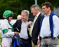 Jockey Josephine Gordon talks to connections of Gaelic Spirit during Afternoon Racing at Salisbury Racecourse on 18th May 2017