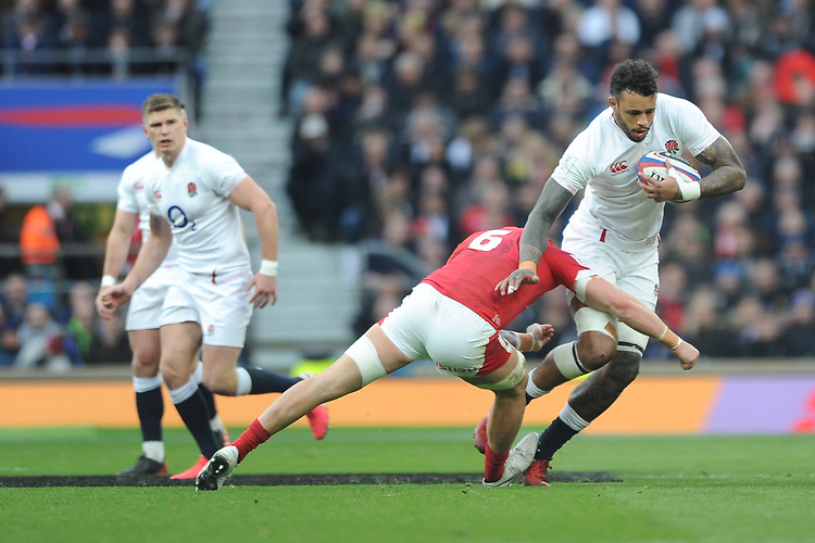 Courtney Lawes of England is tackled by Ross Moriarty of Wales during the Guinness Six Nations match between England and Wales at Twickenham Stadium on Saturday 7th March 2020 (Photo by Rob Munro/Stewart Communications)