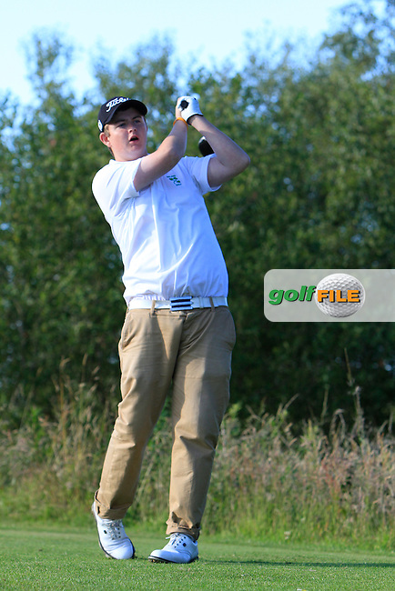 Owen Crooks (Bushfoot G.C) on the 18th tee during the Ulster Boys' Amateur Open Championship in Clandeboye Golf Club on Tuesday 8th July 2014.<br /> Picture:  Thos Caffrey / www.golffile.ie