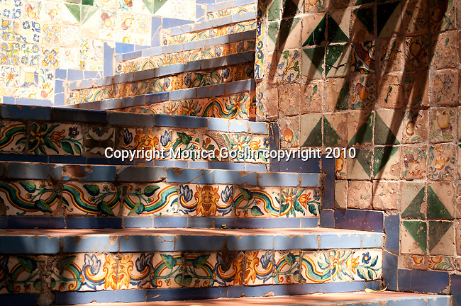 Tiled steps at the Sorolla Museum in Madrid, Spain.