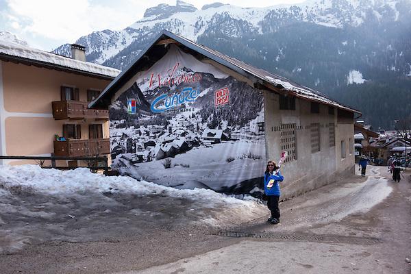 End of ski trail Belvedere to Canazei, Dolomites, Italy,