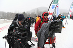 FRANCONIA, NH - MARCH 10:   Video crews check their gear prior to the awards ceremony during the Slalom event at the Division I Men's and Women's Skiing Championships held at Cannon Mountain on March 10, 2017 in Franconia, New Hampshire. (Photo by Gil Talbot/NCAA Photos via Getty Images)